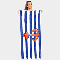 Anchor Pattern Beach Towel and Drawstring Bag