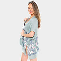 Embroidered Floral Cover Up Poncho