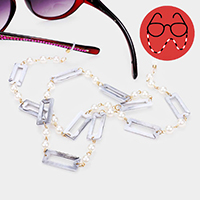 Celluloid Acetate Rectangle Pearl Glasses Chain