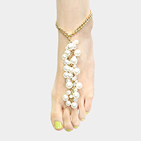Pearl Cluster Chain Toe Ring Anklet