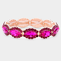 Marquise Crystal Rhinestone Trim Stretch Evening Bracelet