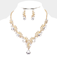 Pear Crystal Rhinestone Pave Vine Evening Necklace