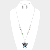 Abalone Turtle Pendant Beaded Long Necklace