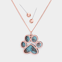 Two Tone Brass Metal Paw Pendant Necklace