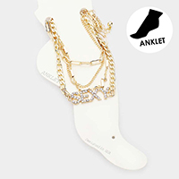 4PCS - Sexy Rhinestone Chain Layered Anklets