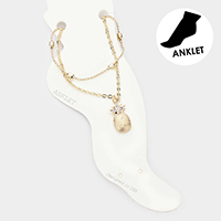 2PCS - Rhinestone Pave Pineapple Chain Layered Anklets