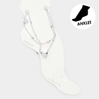 2PCS - Heart Charm Metal Link Layered Anklets