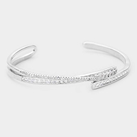 Rhodium Plated CZ Baguette Cut  Evening Cuff Bracelet