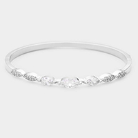 Rhodium Plated Cubic Zirconia Embellished Evening Bracelet