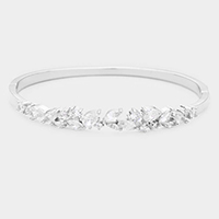 Rhodium Plated Marquise Cubic Zirconia Embellished Evening Bracelet