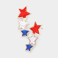 Metal Trim Triple Star Drop Earrings