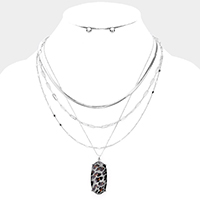 Leopard Pendant Chain Layered Necklace