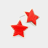 Threaded Star Metal Trim Stud Earrings