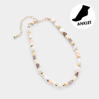 Freshwater Pearl Disc Beaded Anklet
