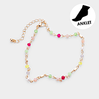 Faceted Bead Pearl Link Anklet