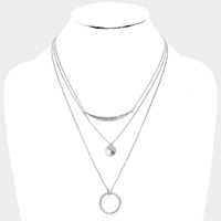 Open Circle Pendant 3 Row Layered Necklace