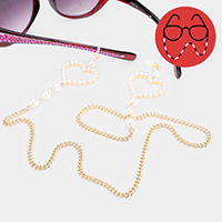 Pearl Heart Accented Glasses Chain