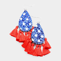 USA Patriotic Tassel Dangle Earrings
