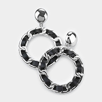 Faux Leather Chain Open Circle Dangle Earrings