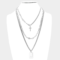 3PCS - Multi Layered Metal Cross Pendant Accented Necklaces