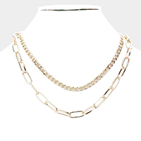 Double Layered Metal Chain Link Necklace