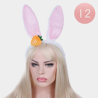 12PCS - Carrot Rabbit Ear Fur Headbands