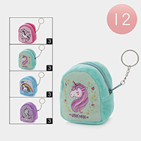 12PCS - Unicorn Coin Purse Key Chains