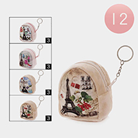 12PCS - Eiffel Towel Coin Purse Key Chains