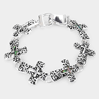 Abalone Cross Accented Magnetic Link Bracelet