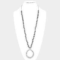Semi Precious Hammered Metal Pendant Long Necklace