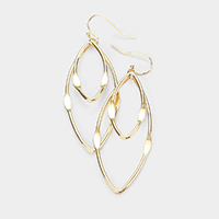 Plated Brass Metal Marquise Shaped Earrings