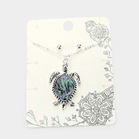 Abalone Turtle Pendant Necklace