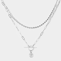 Double Layered Metal Crushed Ball Necklace