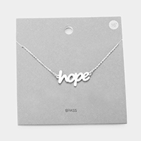 Brass Metal Hope Pendant Necklace