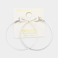 14K White Gold Dipped 2 Inch Metal Hypoallergenic Hoop Earrings