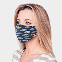 Feather Print Cotton Fashion Mask