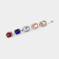Rectangle Stone Accented Bobby Pin
