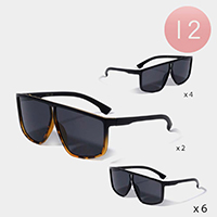 12PCS - Aviator Square Frame Sunglasses