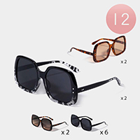 12PCS - Oversized Square Frame Sunglasses