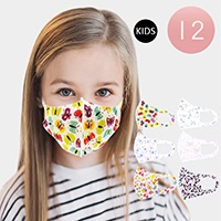 12PCS - Assorted Butterfly Print Kids Fashion Masks