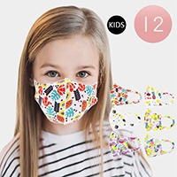 12PCS - Assorted Fruits Print Kids Fashion Masks