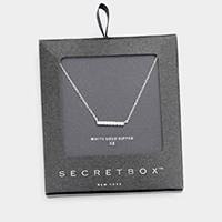 Secret Box _ White Gold Dipped CZ Bar Pendant Necklace
