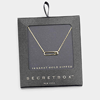 Secret Box _ 14K Gold Dipped Metal Safety Pin Pendant Necklace