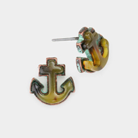 Celluloid Acetate Anchor Stud Earrings