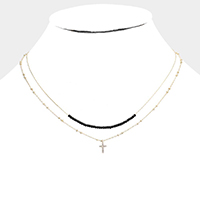 Double Layered Brass Metal CZ Cross Pendant Necklace