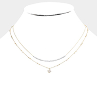Double Layered Brass Metal CZ Clover Pendant Necklace
