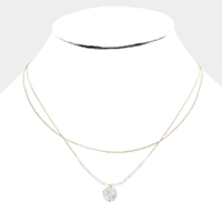 Double Layered Brass Metal CZ Round Pendant Necklace