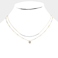 Double Layered Brass Metal CZ Heart Pendant Necklace