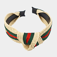 Color Block Bee Detail Raffia Knot Headband