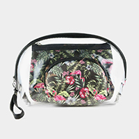 3PCS - Tropical Flamingo Clear Pouches Bag